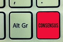 Word writing text Consensus. Business concept for general agreement about particular subject event or action Keyboard. Key Intention to create computer message stock photography