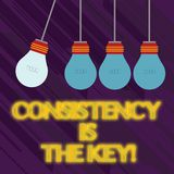 Word writing text Consistency Is The Key. Business concept for by Breaking Bad Habits and Forming Good Ones Color. Word writing text Consistency Is The Key stock illustration