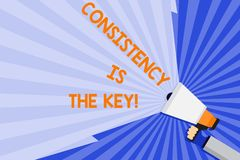 Word writing text Consistency Is The Key. Business concept for by Breaking Bad Habits and Forming Good Ones Hand Holding. Word writing text Consistency Is The stock illustration