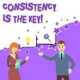 Word writing text Consistency Is The Key. Business concept for by Breaking Bad Habits and Forming Good Ones Business. Word writing text Consistency Is The Key royalty free illustration