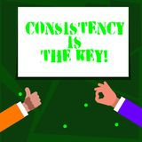 Word writing text Consistency Is The Key. Business concept for by Breaking Bad Habits and Forming Good Ones Two. Word writing text Consistency Is The Key royalty free illustration