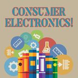 Word writing text Consumer Electronics. Business concept for consumers for daily and noncommercial purposes Books vector illustration