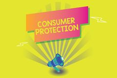Word writing text Consumer Protection. Business concept for Fair Trade Laws to ensure Consumers Rights Protection.  vector illustration
