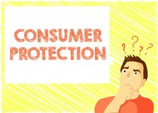 Word writing text Consumer Protection. Business concept for Fair Trade Laws to ensure Consumers Rights Protection.  stock illustration