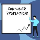 Word writing text Consumer Protection. Business concept for Fair Trade Laws to ensure Consumers Rights Protection View. Word writing text Consumer Protection stock illustration