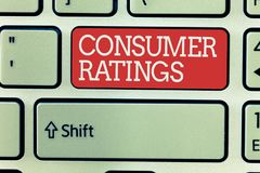Word writing text Consumer Ratings. Business concept for feedback given by clients after buying product or service.  stock images