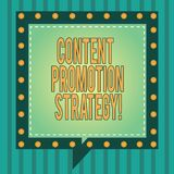 Word writing text Content Promotion Strategy. Business concept for engage with audience over paid social promotions Square Speech