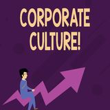 Word writing text Corporate Culture. Business concept for Beliefs and ideas that a company has Shared values Businessman. Word writing text Corporate Culture stock illustration