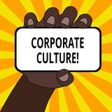 Word writing text Corporate Culture. Business concept for Beliefs and ideas that a company has Shared values Closeup of. Word writing text Corporate Culture royalty free illustration
