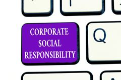 Word writing text Corporate Social Responsibility. Business concept for Internal corporate policy and Ethic strategy.  stock photo