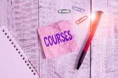 Word writing text Courses. Business concept for Route Direction followed Classes Land Water Area for sports Wrinkle paper and