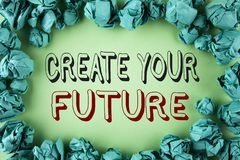 Word writing text Create Your Future. Business concept for career goals Targets improvement set plans learning written on plain ba. Word writing text Create Your Royalty Free Stock Images