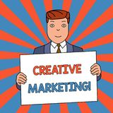 Word writing text Creative Marketing. Business concept for Campaigning to meet the advertising requirements Smiling Man. Word writing text Creative Marketing vector illustration