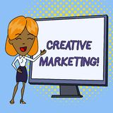 Word writing text Creative Marketing. Business concept for Campaigning to meet the advertising requirements White Female. Word writing text Creative Marketing stock illustration