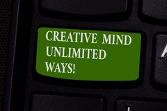 Word writing text Creative Mind Unlimited Ways. Business concept for Creativity brings lots of possibilities Keyboard. Key Intention to create computer message royalty free stock photos