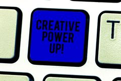 Word writing text Creative Power Up. Business concept for characterized by originality thought or inventiveness Keyboard royalty free stock photos