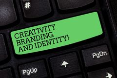 Word writing text Creativity Branding And Identity. Business concept for Marketing advertising design strategies. Keyboard key Intention to create computer stock photos