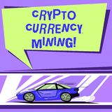 Word writing text Crypto Currency Mining. Business concept for recording transaction record in the blockchain system Car. With Fast Movement icon and Exhaust vector illustration