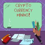 Word writing text Crypto Currency Mining. Business concept for recording transaction record in the blockchain system. Mounted Blank Color Blackboard with Chalk royalty free illustration