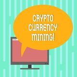Word writing text Crypto Currency Mining. Business concept for recording transaction record in the blockchain system Mounted. Computer Monitor Blank Screen with vector illustration