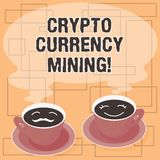 Word writing text Crypto Currency Mining. Business concept for recording transaction record in the blockchain system Sets of Cup. Saucer for His and Hers Coffee vector illustration