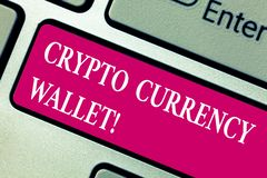 Word writing text Crypto Currency Wallet. Business concept for Digital wallet that allows users to analysisage bitcoin. Keyboard key Intention to create royalty free stock photos