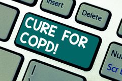 Word writing text Cure For Copd. Business concept for Medical treatment over Chronic Obstructive Pulmonary Disease. Keyboard key Intention to create computer royalty free stock image