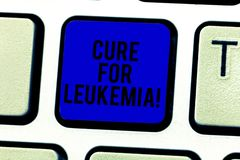 Word writing text Cure For Leukemia. Business concept for transplantation high doses of chemotherapy or radiation. Keyboard key Intention to create computer royalty free stock photo
