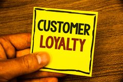 Word writing text Customer Loyalty. Business concept for Client Satisfaction Long-Term relation Confidence Man holding yellow pape. R ideas black red letters royalty free stock image