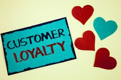 Word writing text Customer Loyalty. Business concept for Client Satisfaction Long-Term relation Confidence Turquoise note ideas bl. Ack red letters words hearts stock photo
