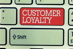 Word writing text Customer Loyalty. Business concept for result of consistently positive emotional experience.  stock images