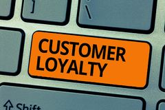 Word writing text Customer Loyalty. Business concept for result of consistently positive emotional experience.  stock photos