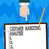 Word writing text Customer Marketing Analysis. Business concept for evaluation of data associated with customer need Hu analysis. Hand Pointing Down to stock images