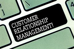 Word writing text Customer Relationship Management. Business concept for analysisage and analyze customer interactions. Keyboard key Intention to create stock photography