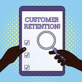 Word writing text Customer Retention. Business concept for Keeping loyal customers Retain analysisy as possible Hands. Word writing text Customer Retention vector illustration