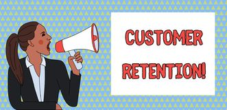 Word writing text Customer Retention. Business concept for Keeping loyal customers Retain analysisy as possible Young. Word writing text Customer Retention stock illustration