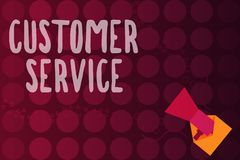 Word writing text Customer Service. Business concept for process of ensuring client satisfaction with product.  royalty free illustration
