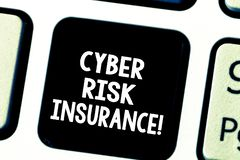 Word writing text Cyber Risk Insurance. Business concept for covers financial losses that result from data breaches. Keyboard key Intention to create computer royalty free stock image