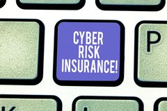 Word writing text Cyber Risk Insurance. Business concept for covers financial losses that result from data breaches. Keyboard key Intention to create computer royalty free stock photography