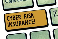 Word writing text Cyber Risk Insurance. Business concept for covers financial losses that result from data breaches. Keyboard key Intention to create computer stock photos