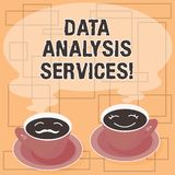 Word writing text Data Analysis Services. Business concept for an analytical data engine used in decision support Sets of Cup. Saucer for His and Hers Coffee stock illustration