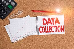 Word writing text Data Collection. Business concept for gathering and measuring information on targeted variables Desk notebook