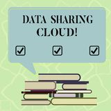 Word writing text Data Sharing Cloud. Business concept for using internet technologies to share files between users. Uneven Pile of Hardbound Books and Blank stock illustration