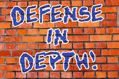 Word writing text Defense In Depth. Business concept for arrangement defensive lines or fortifications defend others. Brick Wall art like Graffiti motivational vector illustration
