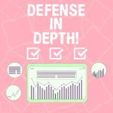 Word writing text Defense In Depth. Business concept for arrangement defensive lines or fortifications defend others. Digital Combination of Column Line Data stock illustration