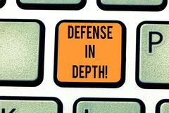 Word writing text Defense In Depth. Business concept for arrangement defensive lines or fortifications defend others. Keyboard key Intention to create computer royalty free illustration