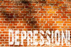 Word writing text Depression. Business concept for Work stress with sleepless nights having anxiety disorder Brick Wall art like. Graffiti motivational call royalty free stock photography