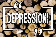 Word writing text Depression. Business concept for Work stress with sleepless nights having anxiety disorder Wooden background. Vintage wood wild message ideas stock photography