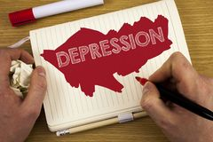 Word writing text Depression. Business concept for Work stress with sleepless nights having anxiety disorder written by Man on Not. Word writing text Depression royalty free stock photo