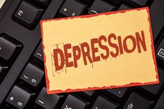 Word writing text Depression. Business concept for Work stress with sleepless nights having anxiety disorder written on Sticky Not. Word writing text Depression stock photography